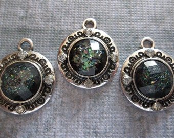 Black Sparkle & Silver Charms or Pendants with Rhinestone Accents - Qty 3
