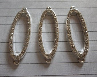 Jewelry Connectors - Large Silver Open Ovals with Clear Rhinestones - 40 x 13mm - Qty 3