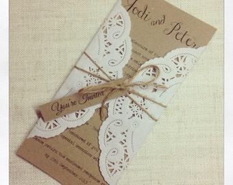 Rustic Chic wedding invitation sample