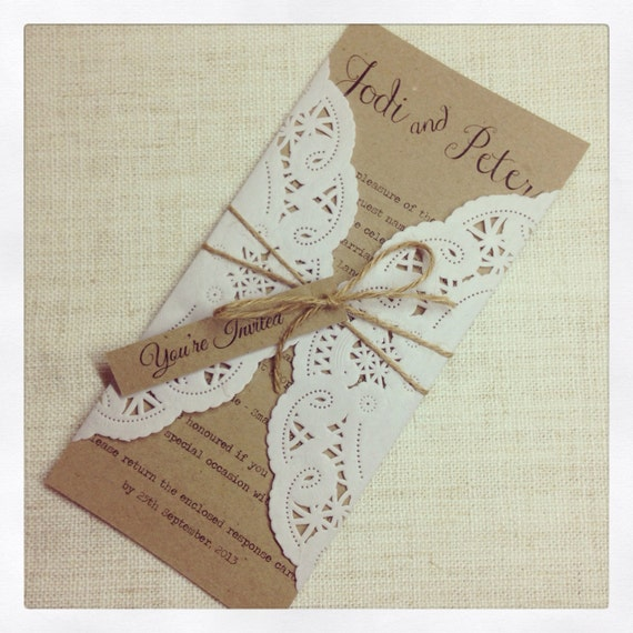 Items Similar To Rustic Chic Wedding Invitation Sample On Etsy