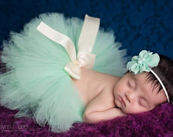 Tutu with headband, newborn tutu, Mint tutu, newborn photography prop, baby tutu, birthday tutu, tutu and headband