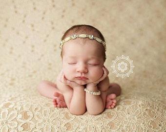 Rhinestone headband, pearl and rhinestone headband,gold newborn headband, newborn photography prop, baby headband, many sizes available