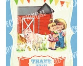 Digital PRINTABLE Vintage Animals Farm House Pig Sheep Chick Boy Girl Birthday Farmer Party Thank you Card Note Gift Tags Images Sheet Sh326