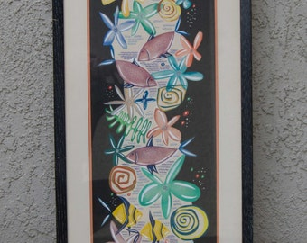 1962 Mid Century Modern Original Painting - Sea Theme - Signed - Framed - 14 by 31