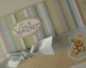 Cute baby boy card...Small Wonder, embossed dots with teddy and glitter