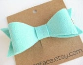 Mint Green Felt Bow Hair Clip