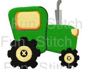 Tractor machine embroidery design