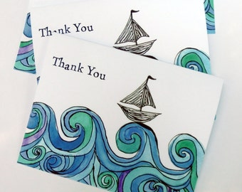 Sailboat on Ocean Waves Thank You Notes - Blue Green Watercolor Art Thank You Cards - Set of 12