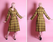 FABULOUSLY CHIC 1940's Style Golden Yellow Plaid Hourglass Over Coat w/ Attached Buckle Belt & Bakelite Style Buttons / Details - Size M