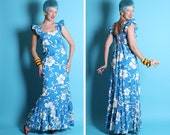 GORGEOUS 1940's Style Exotic 2 Tone Hibiscus Print Hawaiian Long Cotton Gown w/ Flutter Sleeves, Shelf Bust & Ruched Back by Royal Hawaiian