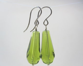 Free Shipping - Apple Green Czech Glass Drop Earrings