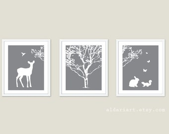 Forest Animals Nursery Wall Art - Deer Wall Art - Rabbit Print - Squirrel Print -  Tree Print - Woodland Nursery Triptych - Aldari Art