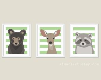 Woodland Animals Nursery Wall Art - Bear Deer Racoon Art Prints - Baby Children Art - Green