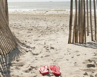 Red Flip Flops, Sandy Beach, Beach Themed Decor, Summer Day, Beach Pictures, Small Beach Prints, Tans, Summer Retreat, Beachy Palette
