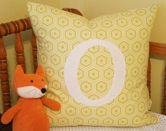 custom monogrammed pillow cover, 20x20, citron hexagons, any letter/colour available