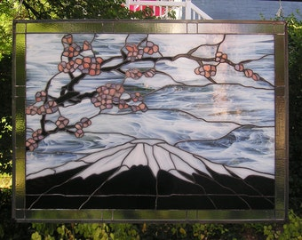 "Mount Fuji with Plum Blossoms 30"" x 40""  Stained Glass Window Panel"