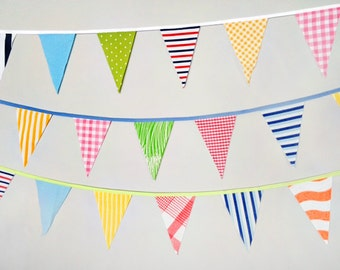 Carnival Bunting / Circus Party Decoration / Photo Booth Prop / Stripes Plaids Dots and Solid Fabrics / Party Bunting Banner