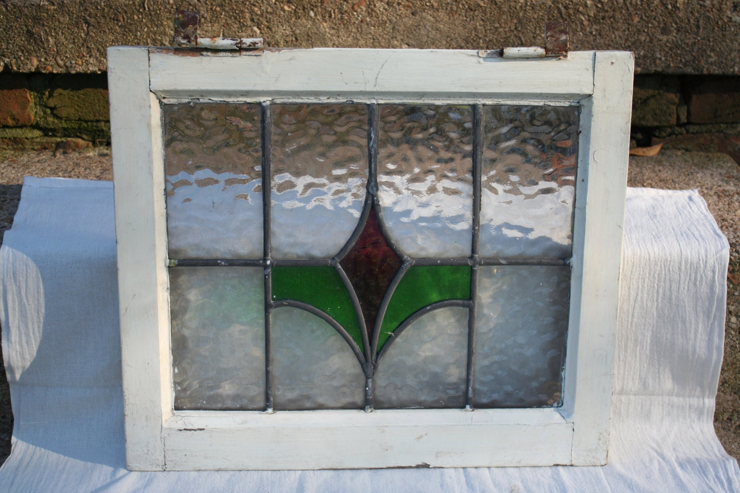 Antique Victorian Era Stained Glass Window From England Floral