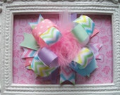 Easter Hair Bow, Hair bows for girls, Over the top hair bow, easter bow, pastel easter bow