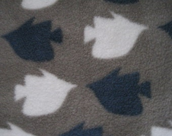 Fish....Swimming on Gray with Blue Handmade Fleece - Ready to Ship Now