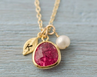 Bridesmaid Gift - Mother Necklace Personalized Initial Leaf Gold Pink Crackle Bezel
