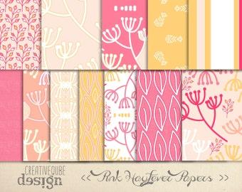Digital paper, Digital Scrapbook paper pack - Instant download - 12 Digital Papers - Pink Hayfever
