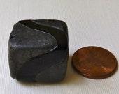 Big Chunky Heavy Black Glass Bead -  Two Tone Black on Black Rectangle  -  22x19mm - Vintage Rustic Murano Glass