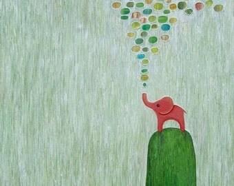 Baby Elephant Art Seafoam Green Home Decor Children's Art Wall Art Whimsical Animal Giclee Print