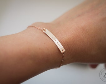 Rose Gold Fill Bar Bracelet Personalized Nameplate Customized Roman Numerals Hand Stamped Sterling Silver and 14 Kt Gold Fill Available Also