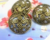 Metal Buttons - Windmill Flower and Foliage Metal Buttons , Antique Brass Color , Shank , 1 inch , 10 pcs