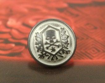 Metal Buttons - Skull Emblem Metal Buttons , Gunmetal White Color , Shank , 0.59 inch , 10 pcs