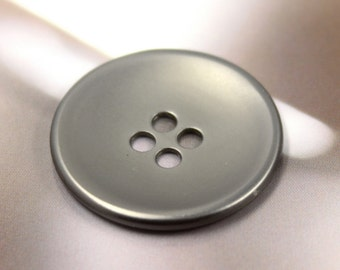 Metal Buttons - Pearlized Gunmetal Buttons , 4 Holes , 1 inch , 6 pcs