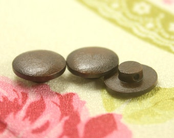 Round Wooden Buttons -  Round Brown Wooden Shank Buttons. 0.59 inch. 10 in a set