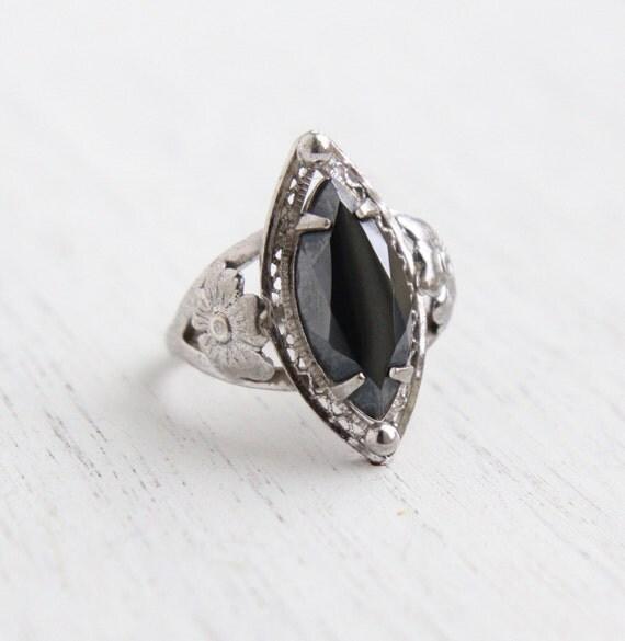 Vintage Sterling Silver Hematite Ring Size 6 1 4 Statement