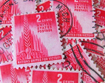 Nations United for Victory 50 Vintage US Postage Stamps 2cent Carmine Red 1940s Scott 907 World War 2 WWII Veteran Valentine Love Philately