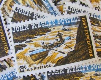 John Wesley Powell 30 Vintage US Postage Stamps 6-Cent Colorado River Scrapbooking Ephemera White Water Rafting River Rocks Wild River Brown