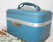 Blue Train Case, Vintage, Blue Carry-on, Vintage Luggage