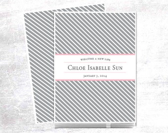 Personalized Baby Book, Baby Book, Baby Memory Book, Modern Baby Book, Girl, Candy Striped, Grey and Pink, FREE SHIPPING