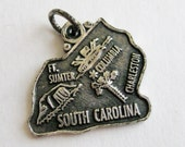Vintage 50s Sterling Silver South Carolina State Souvenir Map Bracelet Charm