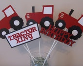 5 Piece Red Tractor Centerpieces