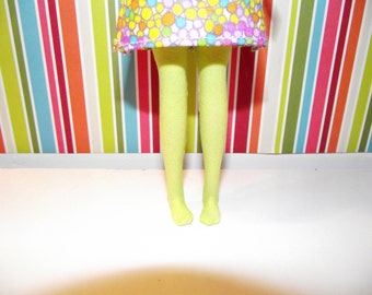 Bright lime green yellow neon tights leggins for DAL doll