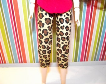 Cheetah animal print capri pants for obitsu