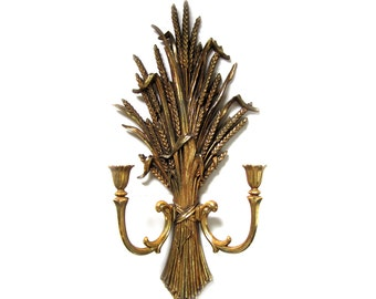 Vintage Syroco Gold Wheat Sheaf Candle Holder Sconce Wall Hanging 1971