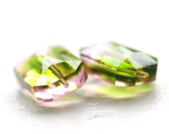 18x13mm Octagon Glass BEADS Bead, Two-Tone Two Tone, Olivine and Light Rose, (E2-R2-C2), Quantity 2