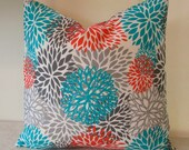 HUGE SALE Indoor/Outdoor Covers Fabric  Blooms Aqua  OutdoorPillow Covers Decorator Pillow Aqua Pillow Ready to ship