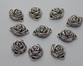 Metal Jewelry Beads - Rose Shape Links, Spacers, Antiqued Silver Color, 24mm, 10 Pieces