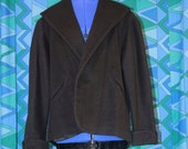 Vintage 1950's Black Wool Jacket Coat XS