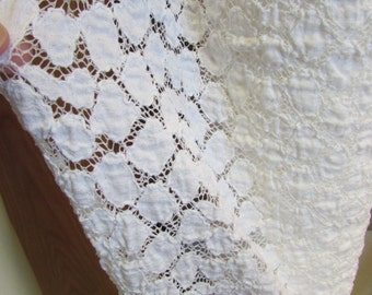 Bubble White Stretchy  Lace Knit Fabric 40'' Wide