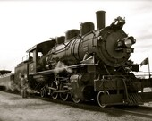 Black and White  photo of Steam Train