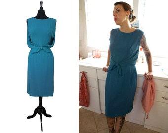 1960's Teal Bowed Dress Size Medium